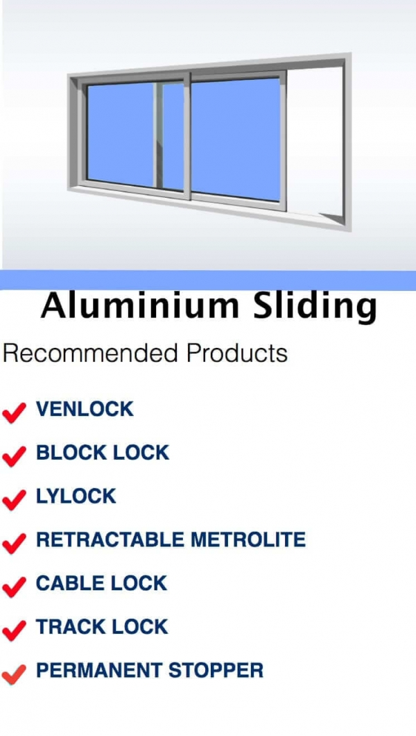 Sydney Window Restrictors Window Guide Recommended Products - Aluminium Sliding Block Lock Venlock Lylock