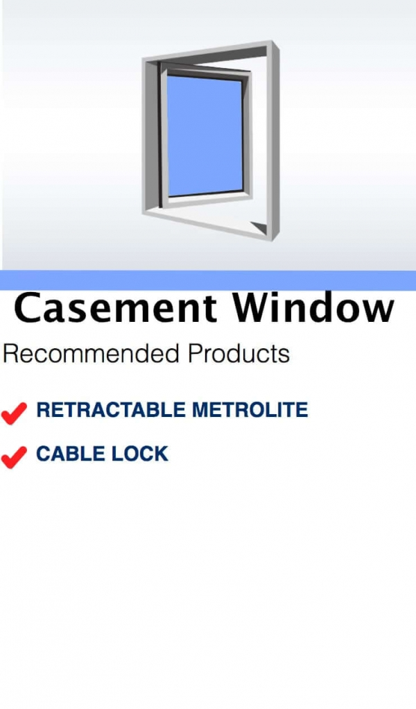Sydney Window Restrictors Window Guide Recommended Products - Casement Window Cable Lock Metrolite